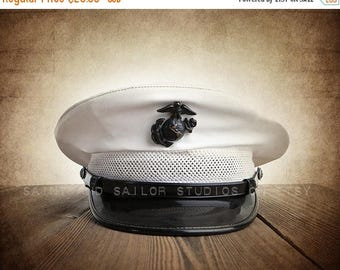 FLASH SALE til MIDNIGHT Vintage Marine Corps Hat Photo Art Print,12 Sizes Available from Print to Mounted Canvas, Military Art, wall decor