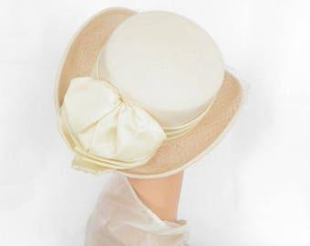 White fedora tilt hat, vintage with veil, satin trim. 1970s Rossi