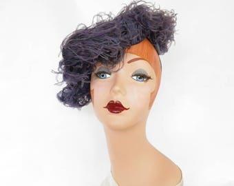 Vintage tilt hat, lavender ostrich feathers, percher fascinator