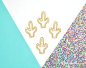 Gold Cactus paper clips, office supplies, cute office supplies, Gold office Supplies, Fancy Office Supplies
