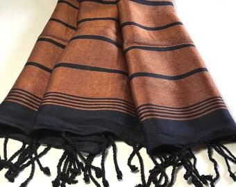 FREE SHIPPING, silk and bamboo towel, turkish bath towel, peshtemal, bronze black, lustrous, tablecloth, luxurious, beach towel, lightweight