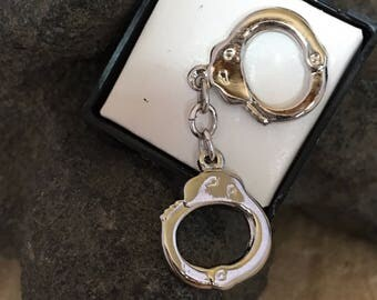 Stainless Steel Handcuffs Tie Tac
