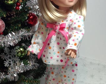 14 inch doll Clothes-fits Wellie Wisher-Pajamas-Christmas- Stocking stuffer
