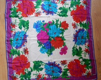 "Colorful Floral 100% Silk Scarf 30"" Square"
