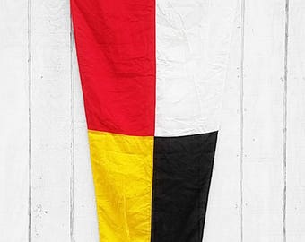 Vintage Nautical Ship Flag, Large 10 ft Canvas Maritime Red Yellow Black Pennate Signal Flag; Rustic Distressed Flag Ocean Beach House Decor