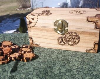 Handmade  Steampunk Box and Shaded Wood Rune Set 25 Pieces Elder Futhark