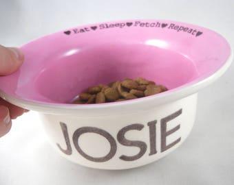 Modern Ceramic Dog Bowl Pink dog dish ceramic, heavy duty, heavyweight, no spill, Dishwasher Safe Food Safe ceramic pet dishes rubber bottom