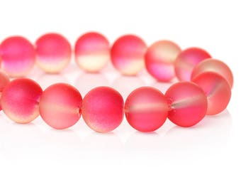 """40 Beads - 10mm Pink and Clear Frosted Rubberized Glass Round Beads - 15"""" strand - Approx 40 beads per strand - Hole Size: 1.7mm"""