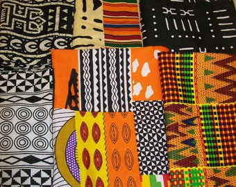 "Kente tribal print fat quarter bundles 18""x22"" inches 6 pieces crafting/quilting/bangles, clutches/ African craft fabrics"