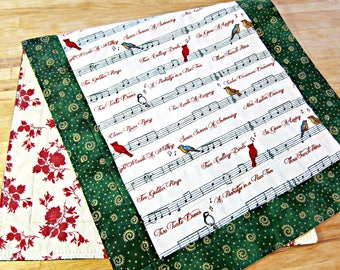 Christmas Table Runner, Quilted Table Runner, Music Table Runner, Red and Green Runner, Christmas Carol Decor, 12 Days of Christmas