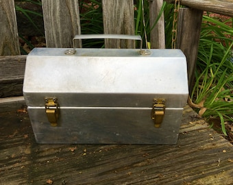 Vintage Toolbox Aluminum Brass Silver Metal Great!