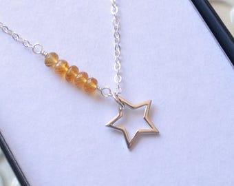 Star Necklace, Childrens Jewelry, Real Citrine Gemstone, Genuine Stone, Sterling Silver, Child, November Birthstone