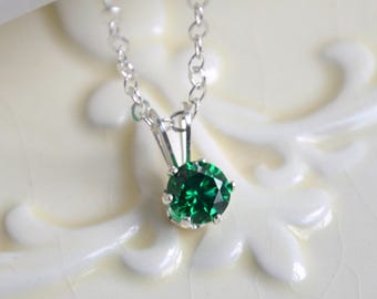 May Birthstone Necklace, Emerald Green Cubic Zirconia, CZ, Single Setting Pendant, Sterling Silver, Adjustable, Jewelry for Girls