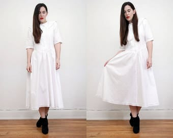 Vintage White Cotton Wedding Tea Dress Peter Pan Nautical Lace Collar Dress 80s
