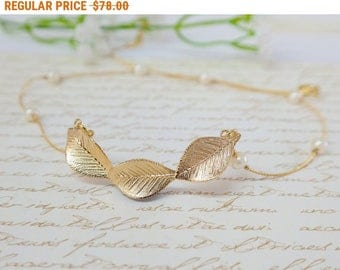 SALE - Gold Leaf and Pearl Necklace, Grecian Jewelry, Gold Leaf Necklace, Bridal Necklace, Bridal Jewelry, Grecian Jewelry, Wedding Jewelry