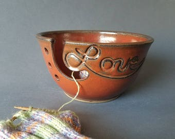 Love Yarn Bowl Knitting Crochet Balls Brick Red Large Size