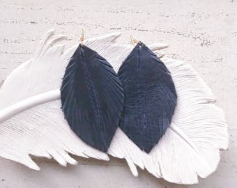 Distressed Navy Leather Feather Earrings