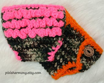 SINGLE Baby Boy OR Girl DIAPER Cover - Camo Orange or Pink Ruffle - Newborn Photo Prop - Made to OrDER- Any Color - Reborn Doll Clothes