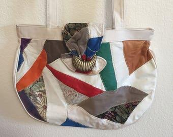 Vintage 80's Patchwork Genuine Leather Multicolor Purse Shoulder Bag