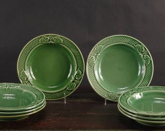 Bordallo Pinheiro Rabbit Green Rimmed Bowls, Set of 4