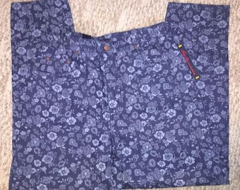 Vintage Bill Blass Women's Mom Jeans Size 12 Blue Floral High Waisted New With Tags