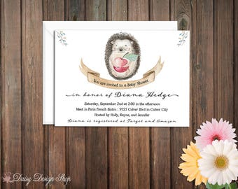 Baby Shower Invitation - Hedgehog Watercolor and Banner