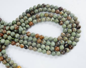 8mm  African  Green opal round beads,   FULL STRAND