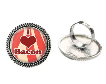 I Love Bacon Glass 25mm Cabochon Silver Double Rope Adjustable Ring