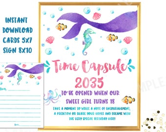MERMAID Time Capsule SIGN and CARDS Watercolor Mermaid First birthday game Mermaid 1st birthday time capsule well wishes cards and sign