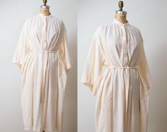 1980s Cotton Gauze Caftan Dress / Pale Peach Shirt Dress