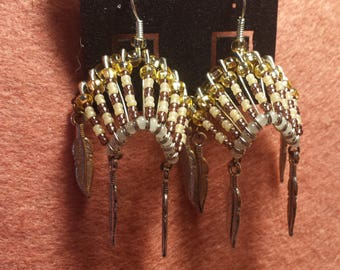 Indian Headress Earrings, handmade