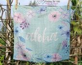 LOVEY * ALOHA * Organic Cotton Double Gauze * Security Blanket * 16x16,5 inches