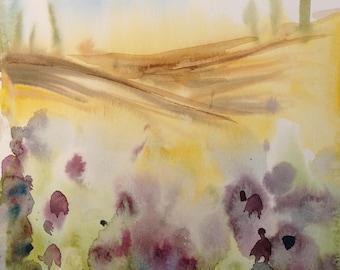Lavender and the Sun - ORIGINAL Watercolor  10X8 inches