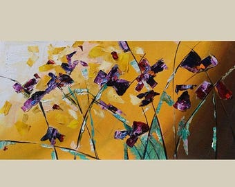 70% off Irises ORIGINAL Oil Painting Irises Palette knife Textured Blue  Purple Yellow Handmade Art by Marchella