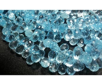 ON SALE 55% Blue Topaz, Tear Drop Beads, Faceted Gemstones, 6x9mm Each, 15 Pieces