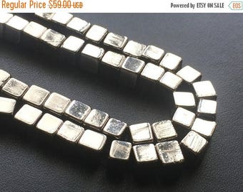 ON SALE 55% Natural Pyrite Cube Beads, Natural Pyrite Plain Box Beads, Natural Pyrite Necklace, 5mm, 8 Inch - AGP199