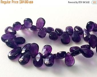 ON SALE 55% Amethyst Pear Beads, Amethyst Faceted Pear Briolettes, Amethyst Necklace, 6x8mm - 6x10mm, 7 Inch - KRSA1