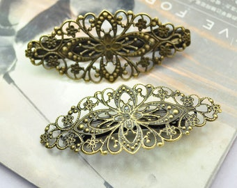20 blanks clips, antique hair clips, barrette, french barrette clips, filigree flower barrette hair clips, antique bronze metal french clips