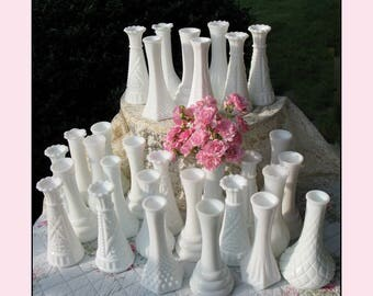 Collection of Ten / The Wedding Collection/ Vintage Milk Glass Bud Vase Collection