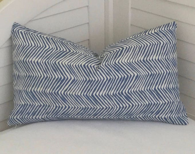 Quadrille China Seas PETITE Zig Zag in Pacific Blue Designer Pillow Cover 12x20