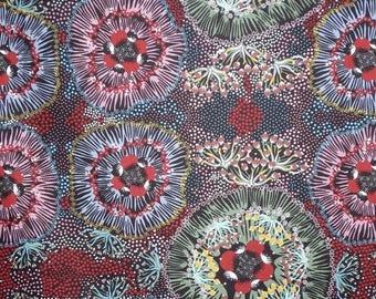 ON SALE Bush Plum Black Aboriginal Print Pure Cotton Fabric-One Yard
