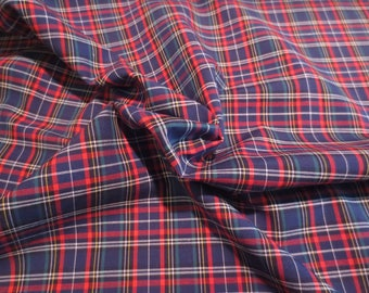 Navy and Red Classic Tartan Plaid Pure Pima Cotton Shirting Fabric--By the Yard