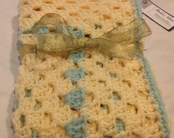 Granny square blanket yellow soft mint afghan bassinet crib car seat cover