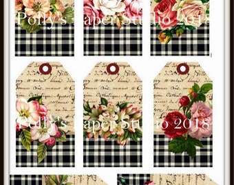 Plaid Flower Tags Digital Images printable download file for Cards and Tags and Crafts Polly's Paper Studio 8 Images