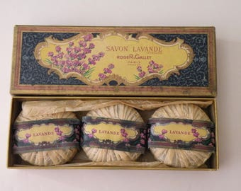 Vintage Lavande Lavender Soaps SET 3 Roger & Gallet Paris France