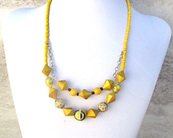 Chunky Yellow Necklace, Tiered Necklace, Mustard Yellow Necklace, Goldenrod Jewelry, Gift for Her, Matching Earrings Available 19-22in