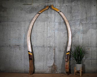 Outrigger Booms Vintage Indonesian Wood Canoe Nautical Theme Architectural Wall Art Restaurant Decor