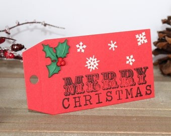 Handmade Large Christmas Vintage Look Gift Tag, Free Shipping