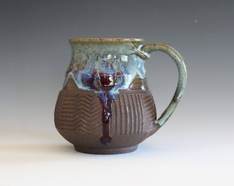 Pottery Mug, 16 oz, unique coffee mug, ceramic cup, handthrown mug, stoneware mug, wheel thrown pottery mug, ceramics and pottery