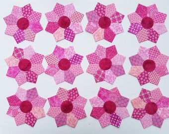"12 Scrappy Mini Dresden Plate Pink Quilt Blocks 5"" Stars"